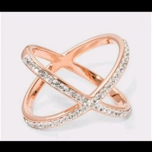 14K Rose Gold Plated Crystal X Ring sz 6
